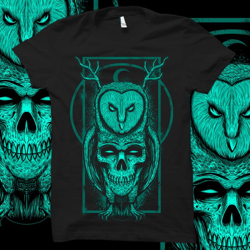 SKULL OWL T shirt design | Tshirt-Factory