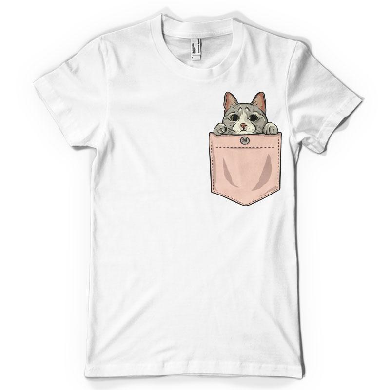 Cute Cat Pocket Tee Shirt Design Tshirt Factory