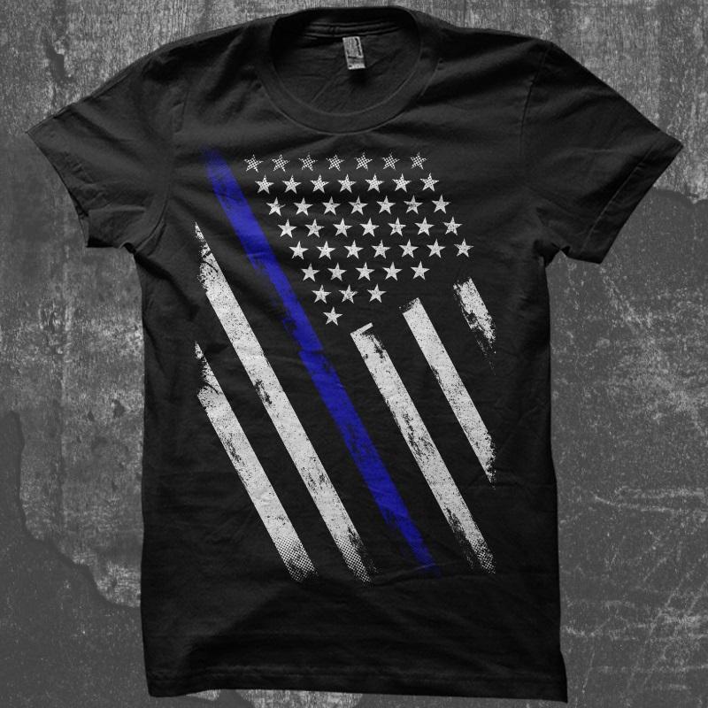 Thin Blue Line Flag T shirt design  5a9e1de8675