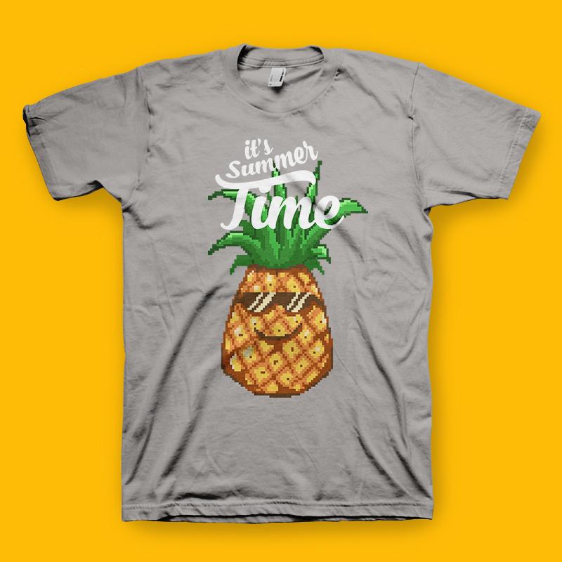 Summer Pineapple Pixel Art Character